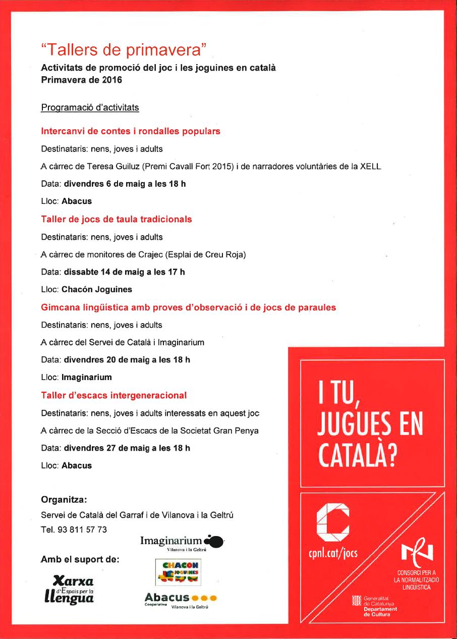 Quatre tallers lúdics per promoure el joc en català a Vilanova i la Geltrú