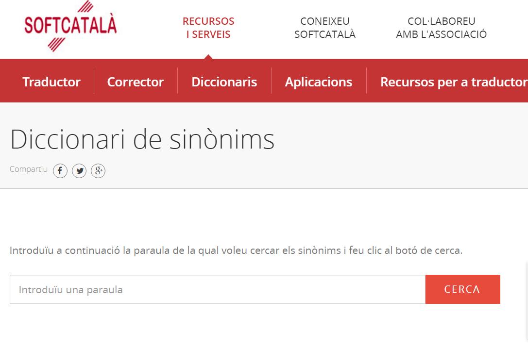 Diccionari de sinònims de Softcatalà