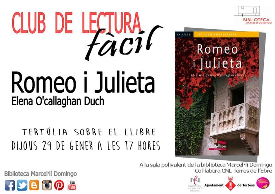 Club de Lectura Fàcil de Tortosa del gener: 'Romeo i Julieta'