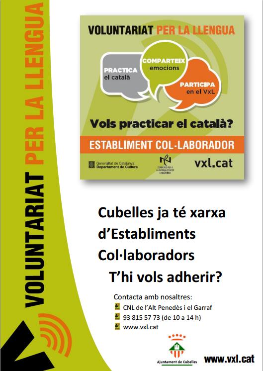 24 comerços de Cubelles, establiments col·laboradors del Voluntariat per la llengua